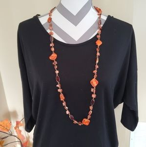 Long Orange Stone and Bead Necklace